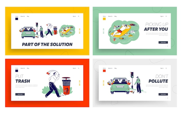 Characters throw garbage on street, pollution landing page template set.