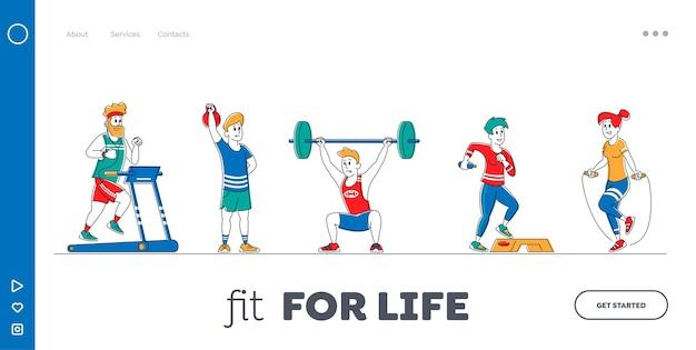체육관 방문 페이지 템플릿 세트에서 스포츠 장비로 훈련하는 캐릭터.