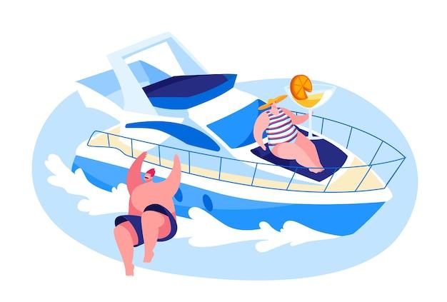 夏に海で豪華ヨットで旅行するキャラクター