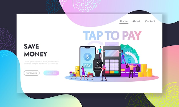 Characters use contactless payment landing page template.
