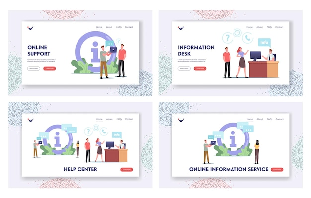 Characters use info desk, help center landing page template set. people need information ask manager in bank, supermarket, airport or shop center. visitors need assistance. cartoon vector illustration