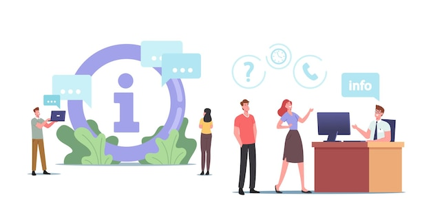 Characters use info desk service. people need information ask manager in bank, supermarket, airport or shopping center. visitors ask question, need help and assistance. cartoon vector illustration