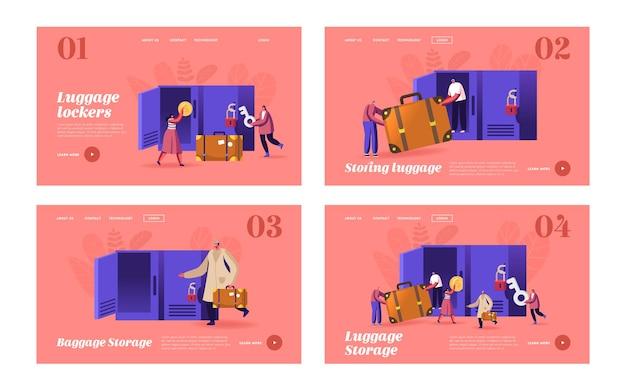 キャラクターは荷物収納ランディングページテンプレートセットを使用します。空港やスーパーマーケットのロッカーにバッグを入れてください。手荷物を預けるためにスーツケースを持っている人旅行者。漫画の人々のベクトル図