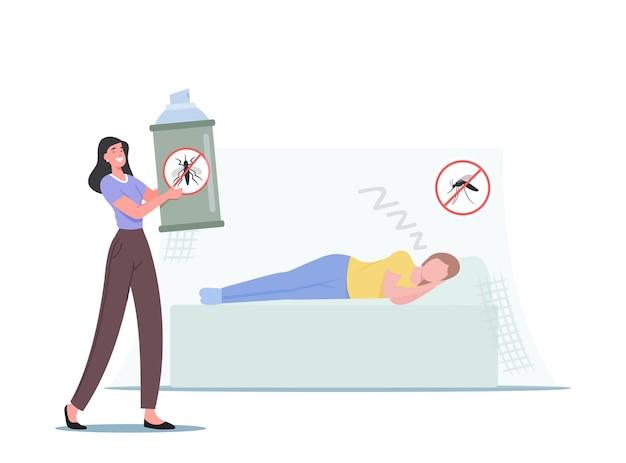 キャラクターは夏にネットと防蚊保護を使用します。夜に昆虫と戦う家族のカップル。マラリア昆虫に対する有毒な害虫駆除の救済。漫画の人々のベクトル図