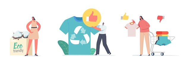 Characters use recyclable and eco friendly textile. sustainable fashion, manufacturing brand, green technologies, ethical clothing production selling concept. cartoon people vector illustration