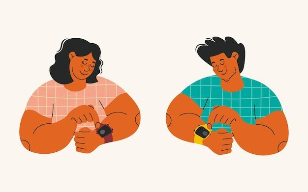 Персонажи используют умные часы и фитнес-браслеты мужчина и женщина смотрят на наручные часы