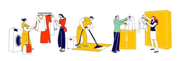캐릭터는 옷 관리 및 청소를 위해 스티머 다리미를 사용합니다. 세탁 직원이 옷걸이에 있는 옷을 찌고, 호텔의 맨 클린 헝겊, 의류 김이 나는 사람들, 가사일. 선형 벡터 일러스트 레이 션