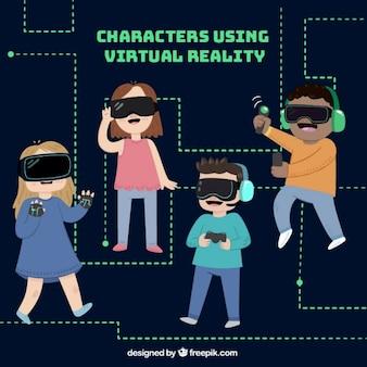 I personaggi usign occhiali di realtà virtuale