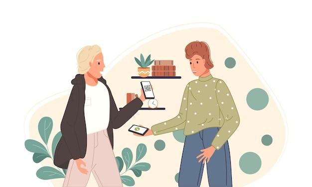 Personaggi che utilizzano il sistema di pagamento mobile con scansione del codice qr concetto di shopping online