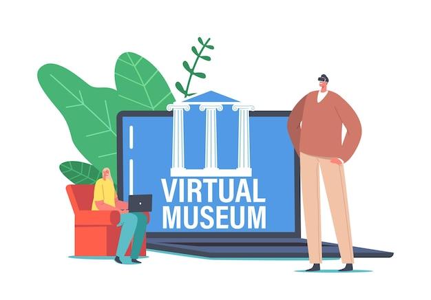 Персонажи посещают виртуальный музей онлайн-художественной галереи на экране ноутбука. современная онлайн-выставка тур интернет-технологии. домашний отдых на мобильных устройствах, веб-туризм. мультфильм люди векторные иллюстрации