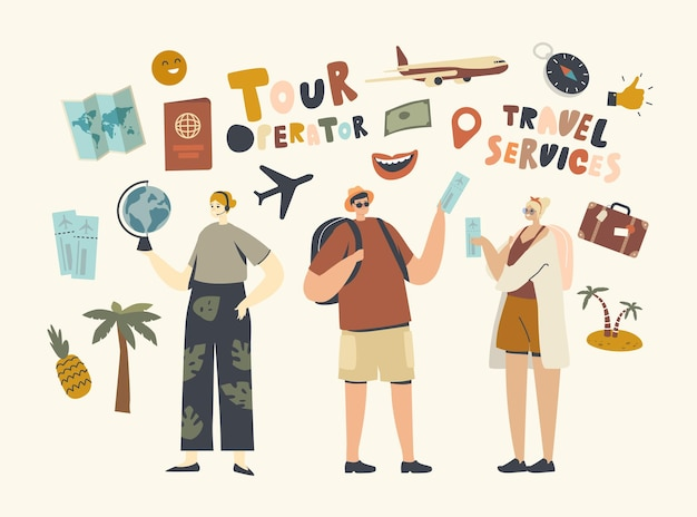 캐릭터는 세계 여행 또는 국내 여행, 지역 관광 여행을 위해 여행사 구매 여행을 방문합니다. 여행사 제공 여행. 선형 사람들 벡터 일러스트 레이 션