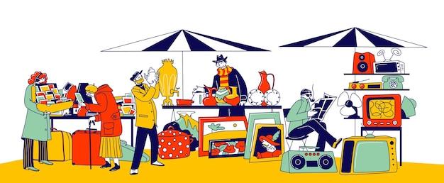 독특한 골동품을 쇼핑하기 위해 벼룩시장을 방문하는 캐릭터. 차고 판매, 구매자가 구매할 수 있도록 오래된 물건을 제시하는 판매자가 있는 야외 복고풍 바자회. 선형 사람들 벡터 일러스트 레이 션