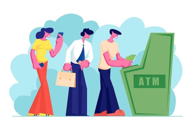 キューに立っている現金自動預け払い機に順番にお金を引き出したり入れたりするのを待っているキャラクター
