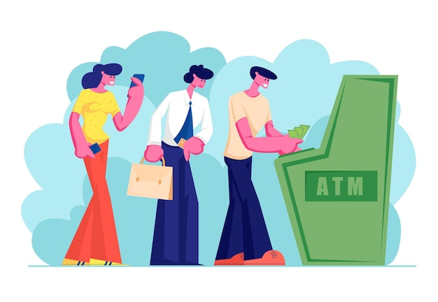 Characters waiting in turn to draw or put money to automated teller machine standing in queue