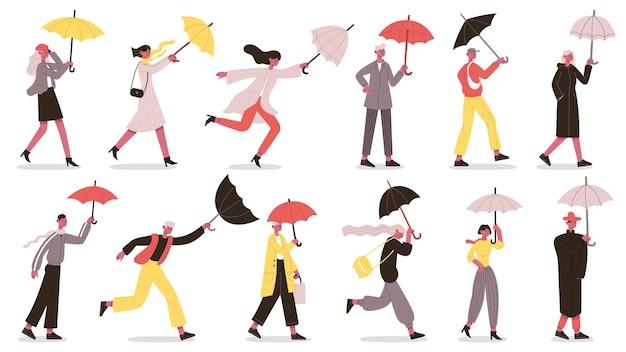 우산 아래 걷는 캐릭터. 가을 비오는 날 우산을 든 사람들은 습한 날씨 벡터 삽화 세트를 떨어뜨립니다. 우산을 들고 만화 사람들