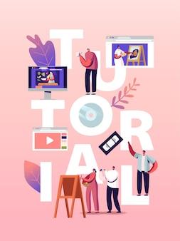 Персонажи смотрят видеоуроки получить онлайн-обучение иллюстрация