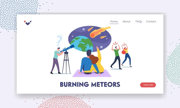 Characters watching meteorite fall landing page template. man with telescope look on sky with falling asteroids, loving couple make wish, frightened people run away. cartoon vector illustration