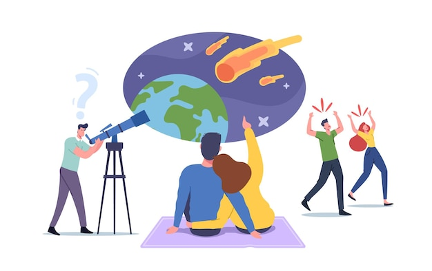Characters watching meteorite fall, man with telescope look on natural phenomenon in sky with falling asteroids, loving couple make wish, frightened people run away. cartoon vector illustration