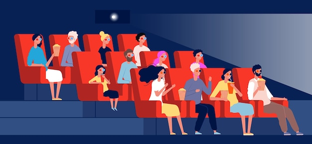 Characters watching movie. persons sitting in chairs in cinema hall vector flat pictures concept. auditorium of cinema, audience relaxing and looking illustration