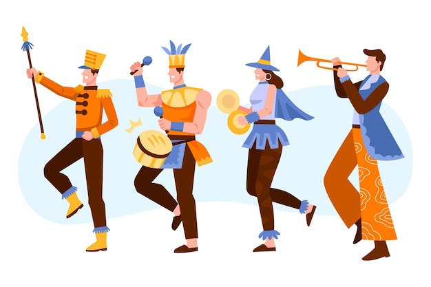 Characters wearing carnival costumes isolated on white background