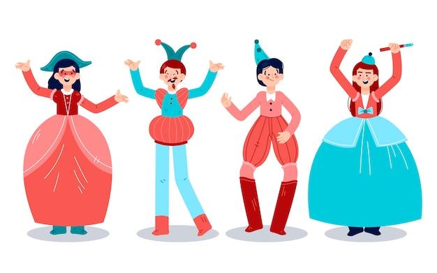 Characters wearing italian carnival costumes