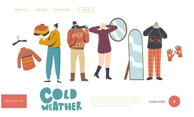 Персонажи в теплой одежде. шаблон целевой страницы. люди в шерстяных вязаных пуловерах ручной работы, шарфах и шляпах. мода для прогулок на свежем воздухе в холодную зимнюю или осеннюю погоду. линейные векторные иллюстрации