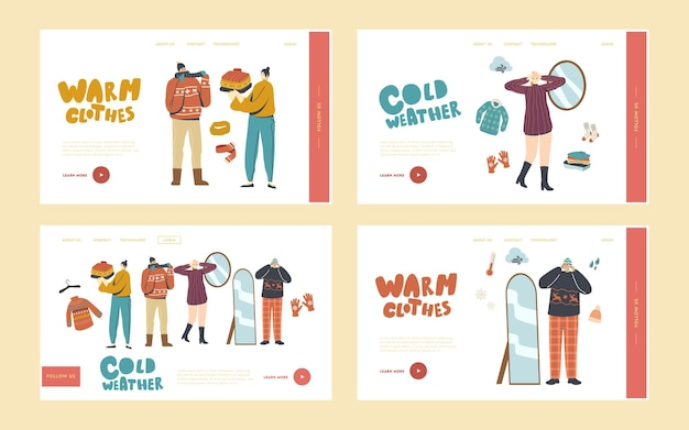 Набор шаблонов целевой страницы персонажей в теплой одежде. люди в вязаном пуловере ручной работы, шарфах и шляпах. мода для прогулок на свежем воздухе в холодную зимнюю или осеннюю погоду. линейные векторные иллюстрации