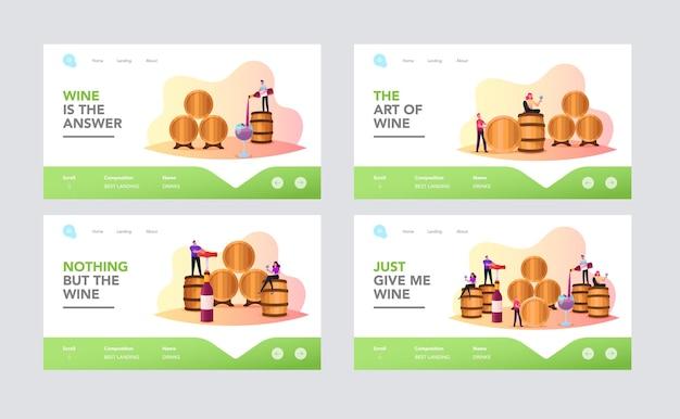 ボールトランディングページテンプレートセットのキャラクターワインテイスティング。人々は巨大な樽のあるセラーでアルコール飲料を味わうワイングラスを持っています。飲料機能の専門知識。漫画のベクトル図