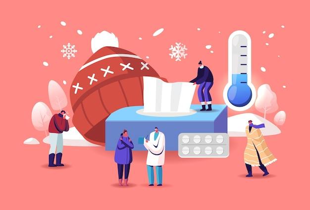 Characters with cold allergy concept. sick patients visiting doctor suffer of low temperature of cough and sneeze symptoms. allergen drugs pharmacy therapy and help. cartoon people vector illustration