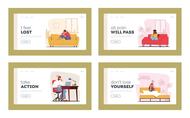 Characters with depression and migraine landing page template set