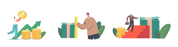 Characters with different income level. tiny businessman climbing on huge money stack with briefcase, measure banknotes pile. profit savings, earnings or investment. cartoon people vector illustration