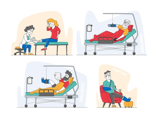 Characters with fracture lying on bed with bounded head