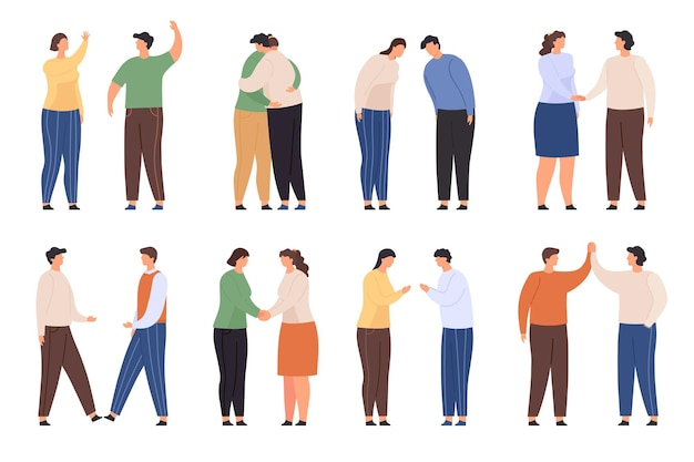Characters with greeting gestures. people greet with waving, handshake, hug and high five. flat man and woman bow. polite welcome vector set. illustration character person handshake greeting