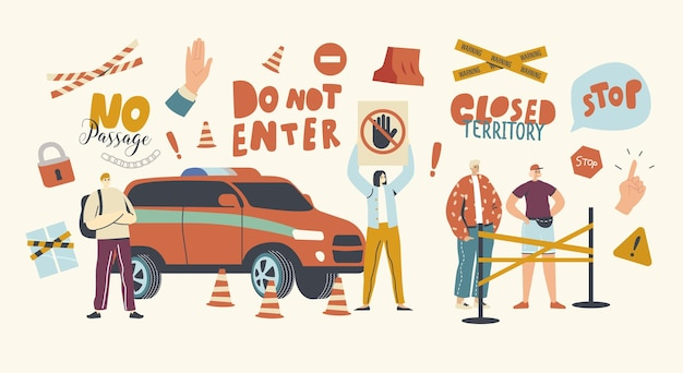 一時停止の標識のあるキャラクターは、閉鎖された領域の入り口をブロックするバリアに立っています
