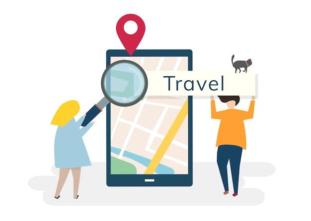 Personaggi con il concetto di viaggio e tecnologia