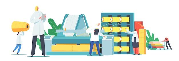 キャラクターは繊維製造工場で働いています。毛糸生産のための自動化された機械の労働者。大きなシャフトにねじ込まれた綿繊維包装機の製造。漫画の人々のベクトル図