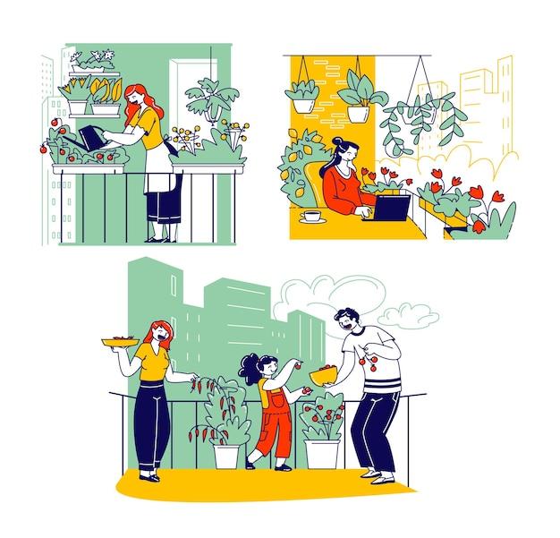 발코니 정원에서 작업하는 캐릭터. 야채, 꽃, 화분을 심는 사람들은 토양에 물을 주고 비옥하게 하고 수확합니다. 원예 또는 꽃집 취미. 선형 사람들 벡터 일러스트 레이 션