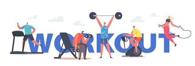 문자 운동 개념입니다. 체육관에서 훈련하는 사람들은 러닝머신, 자전거 타기, 바벨과 덤벨 운동, 밧줄, 스포츠 포스터, 배너 또는 전단지로 점프합니다. 만화 벡터 일러스트 레이 션