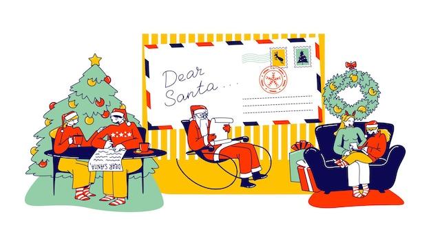 크리스마스 휴가를 위한 선물을 요청하는 산타클로스에게 편지를 쓰는 캐릭터. 어린이와 성인의 메시지를 읽는 노엘 신부. 축제 시즌 전통, 행복. 선형 사람들 벡터 일러스트 레이 션
