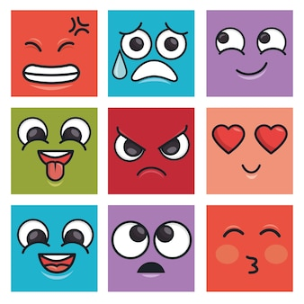 Charatcer differents emoticons square colors graphic