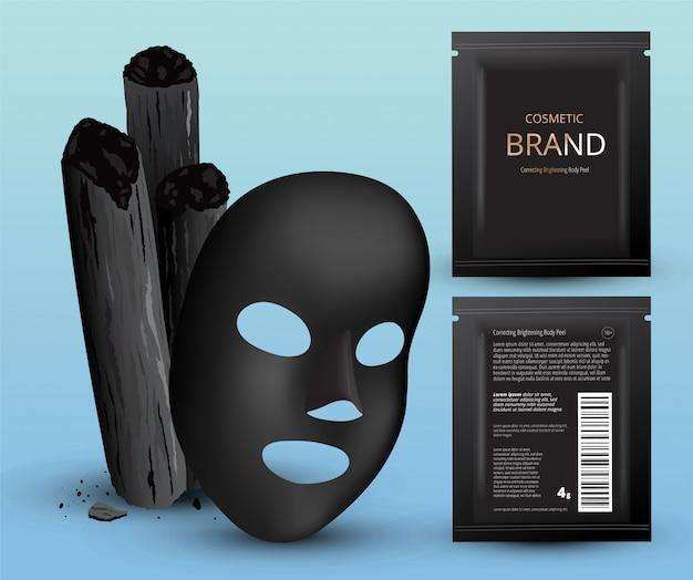 Charcoal bamboo sticks, black mask. cosmetic plastic sachets.