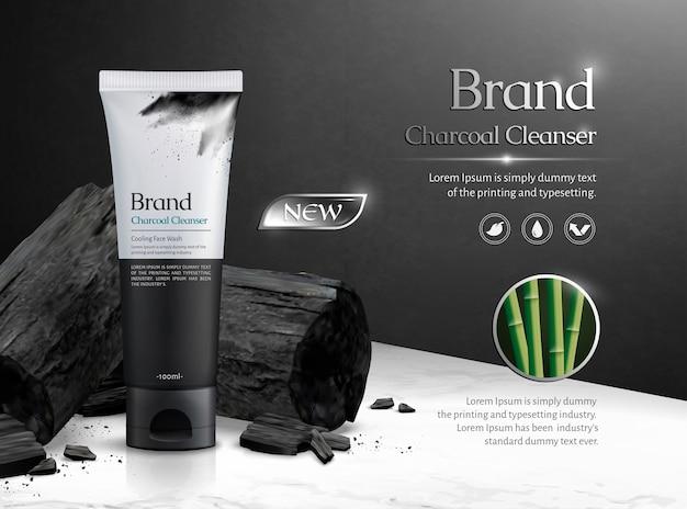 Коммерческая реклама древесного угля с углеродом на мраморном каменном столе в 3d иллюстрации