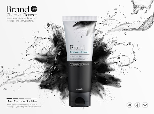 Charcoal cleanser commercial ads with splashing liquid and black powder explosion on white background, 3d illustration