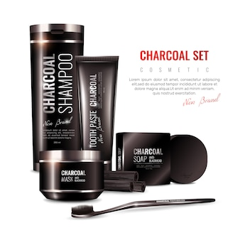 Charcoal cosmetics 3d illustration