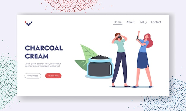Charcoal cream landing page template. women applying natural mineral mud mask. tiny female characters at huge cosmetic jar apply moisturizing spa baths hygiene procedure. cartoon vector illustration