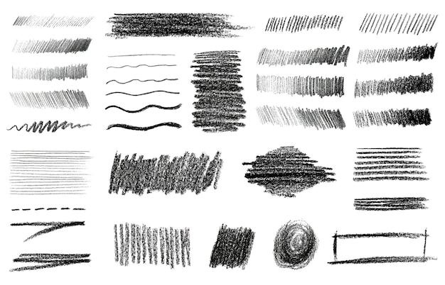 Charcoal and graphite pencil art brushes vector set