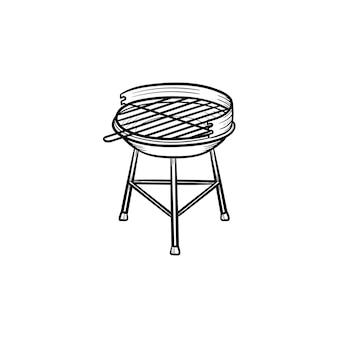 炭火焼き手描きアウトライン落書きアイコン。白い背景で隔離の印刷、ウェブ、モバイル、インフォグラフィックのケトルバーベキューグリルベクトルスケッチイラスト。