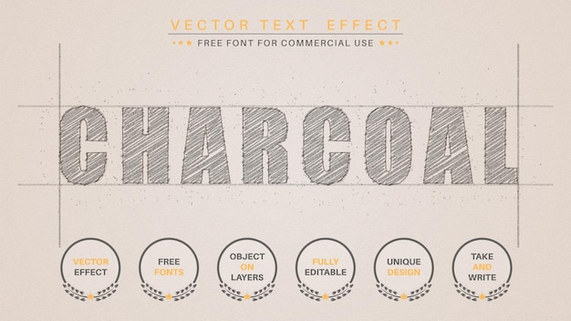 Charcoal pencil  - editable text effect,  font style.