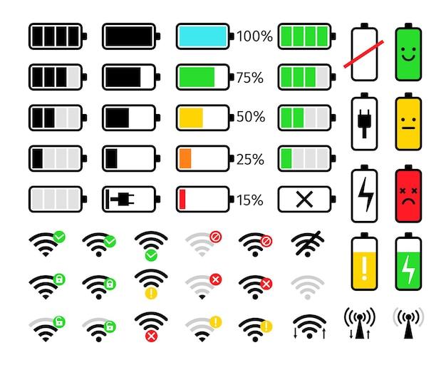 모바일 아이콘 충전 및 신호. 배터리 및 wifi 전화 시스템 바 아이콘 세트