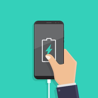Charge battery notification, flat design vector illustration